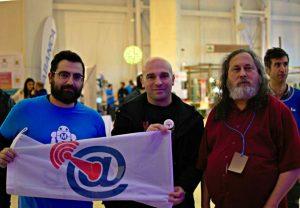 Creadores de Aberteo con Richard Stallman